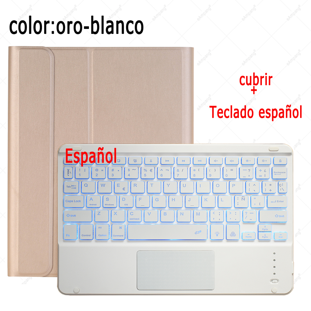 Spanish Keyboard Coffee For iPad 7th 8th Generation 10 2 2019 A2200 A2198 A2232 Case with Backlit Touchpad Keyboard