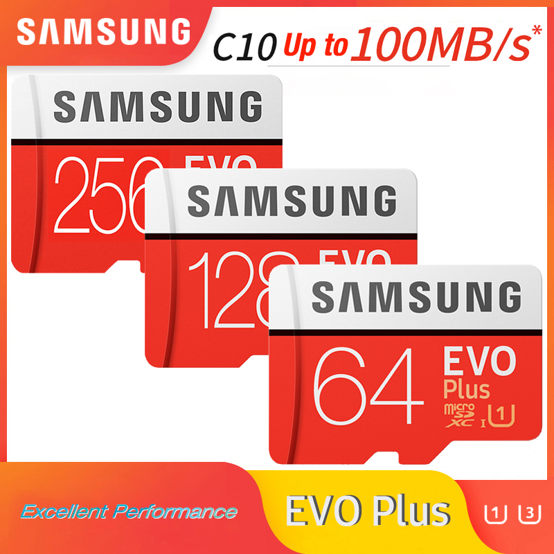 SAMSUNG microsd card 256G 128GB 64GB 32GB up to 60Mb s Class10 U3 U1 EVOPlus micro sd card memory Card cartao de memoria