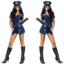 Women Sexy Police Officer Cosplay Costume Halloween Policewoman Cop Bodysuit With Handcuffs Fancy Dress Uniform For Role Playing(China)