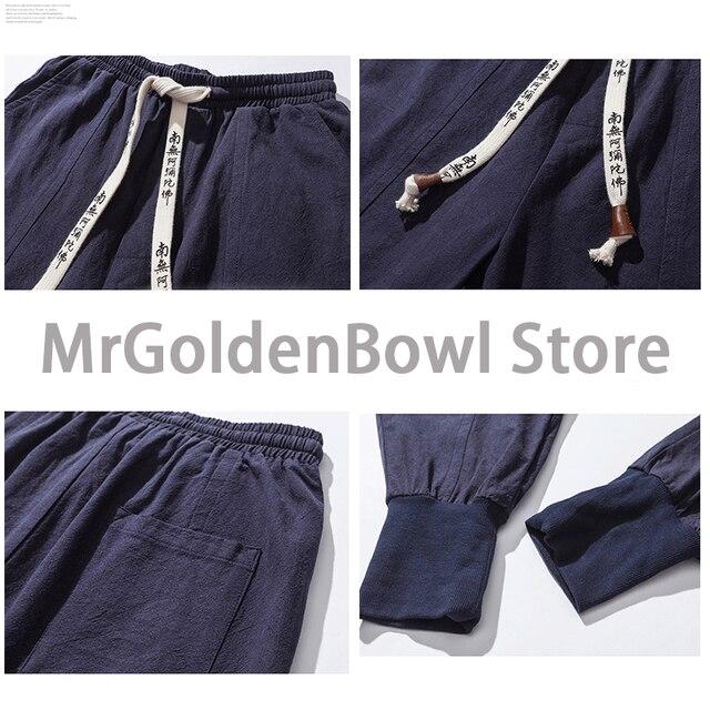 MrGB 2021 Cotton Linen Jogger Pants Men Streetwear Casual Harem Pants Men Trouser Summer Cool Pants Oversized Men's Clothing 2