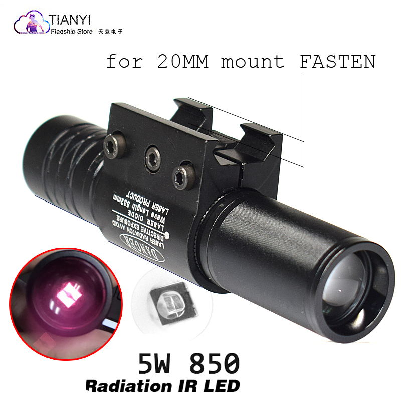 850nm Led IR Night Vision Hunting Flashlight Gun Light 500yard Zoomable Focus Tactical Infrared Radiation Weapon Light 5 Watt