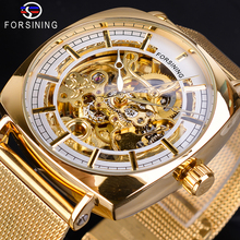 цена на Forsining Classic Men Mechanical Watches Golden Square Case Automatic Skeleton Analog Mesh Steel Band Male Clock Erkek Kol Saati