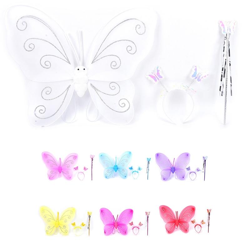 3 Teile/satz Schöne Party Kostüm Prinzessin Mädchen Kinder Schmetterling Flügel Zauberstab Stirnband Fee Weihnachten Kostüm Set