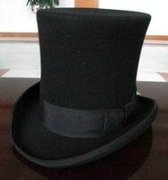 Wool Retro Felt Pork Pie Hat for Men Women Wool Cap Black Ribbon Band Bowler Fedoras Bowler Hat Men Magic Hat Cap Height 25CM