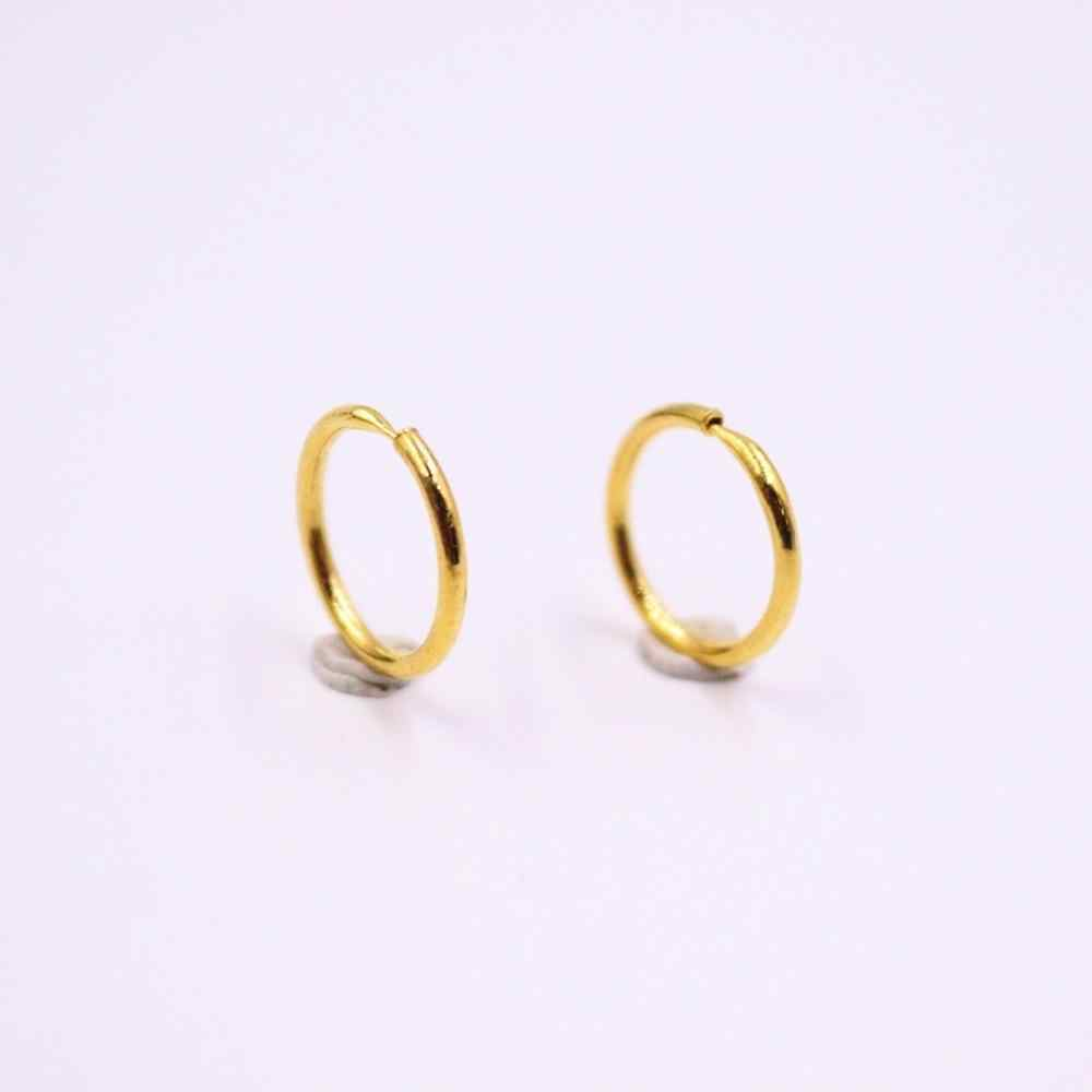 Pure 24K Yellow Gold Earrings Women/'s A pair of Smooth Round Hoop