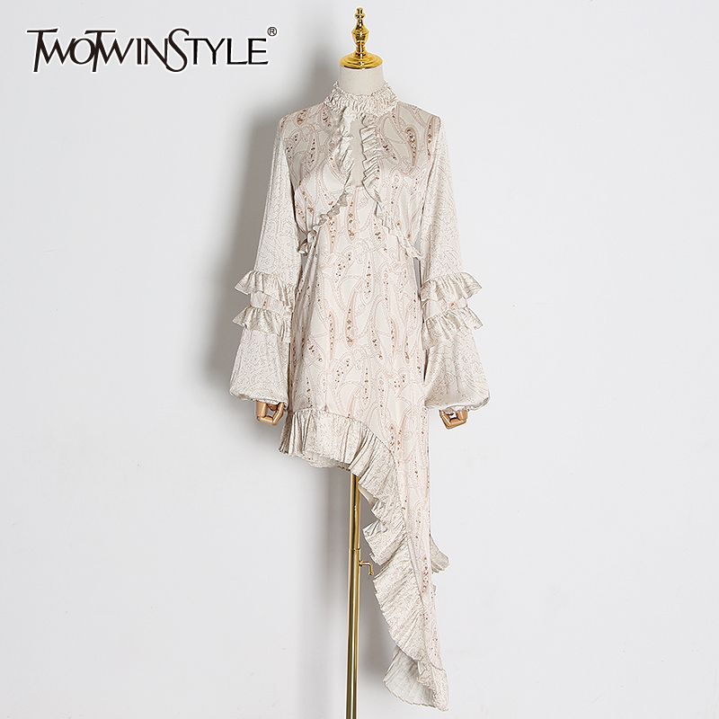 TWOTWINSTYLE Vintage Hollow Out Ruffle Dresses Female Stand Collar Lantern Long Sleeve High Waist Mini Asymmetrical Dress Women