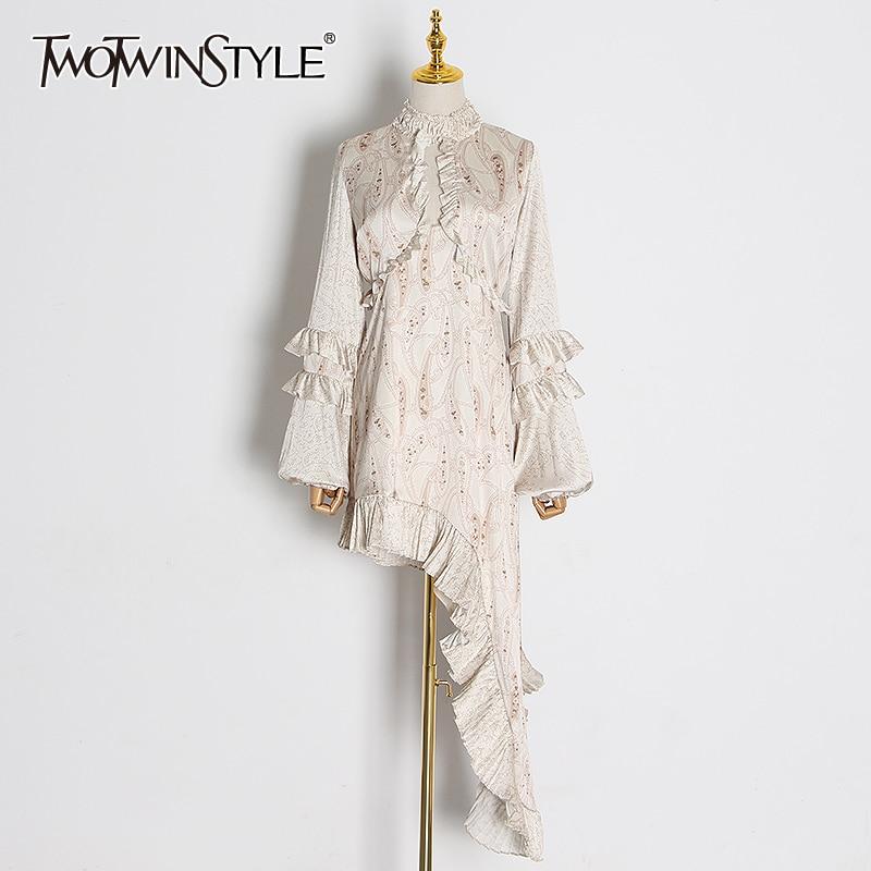 TWOTWINSTYLE Vintage Hollow Out Ruffle Dresses Female Stand Collar Lantern Long Sleeve High Waist Mini Asymmetrical Dress Women
