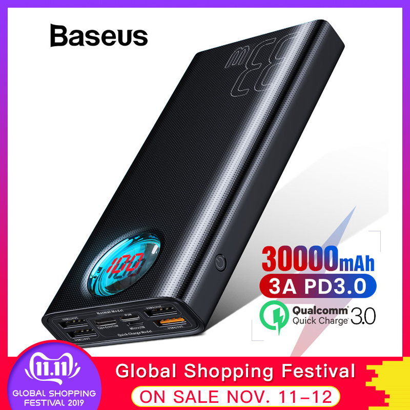 Baseus Power Bank 30000mAh Type-C PD 3.0 Fast Charger For IPhone Quick Charge 3.0 External Battery Powerbank For Xiaomi Samsung