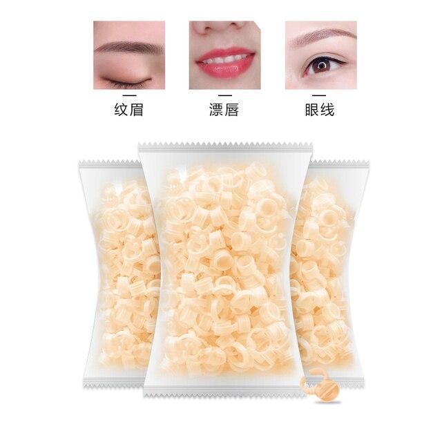500 pièces silicone Permanent maquillage anneau Pigment anneau tatouage encre sourcil lèvre support anneaux conteneur tasse cils Extension