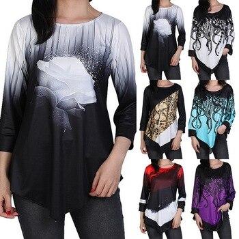 2020 Spring Floral Printed Women Shirt Irregular Hem Shirts For Women's Shirt Tops O-neck 3/4 Sleeve