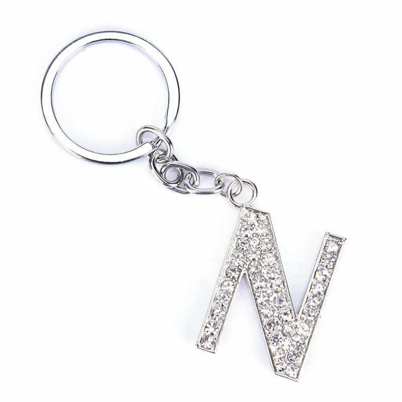 26 letras de cristal de diamantes de imitación alfabeto llavero letra inicial llavero cadena Unisex llavero letras