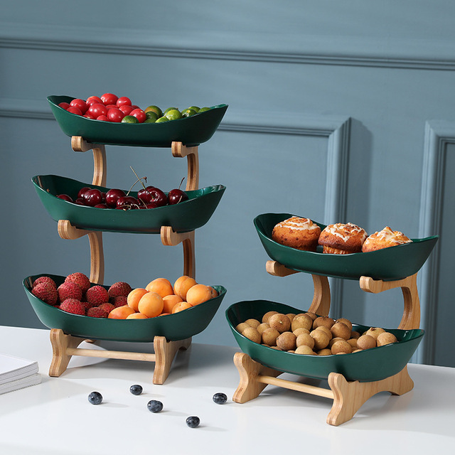 2/3 Tiers Plastic Fruit Plates With Wood Holder Oval Serving Bowls for Party Food Server Display Stand Fruit Candy Dish Shelves 6