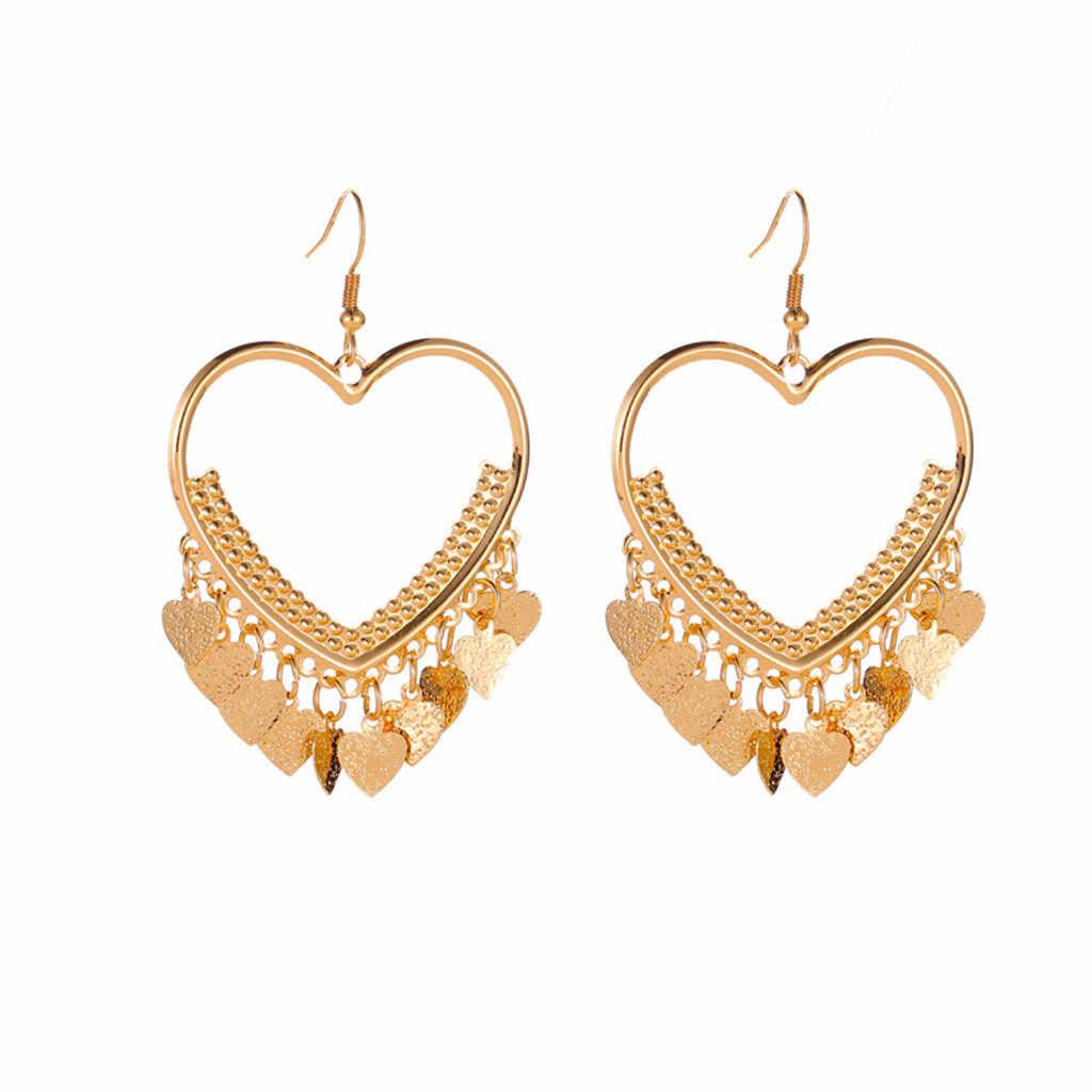 2020 Trendy Einfache Gold Ohrringe Für Frauen Geometrische Liebe Quaste Ohrringe Kolczyki Weibliche Lange Ohrringe Mode Schmuck Geschenke # C1