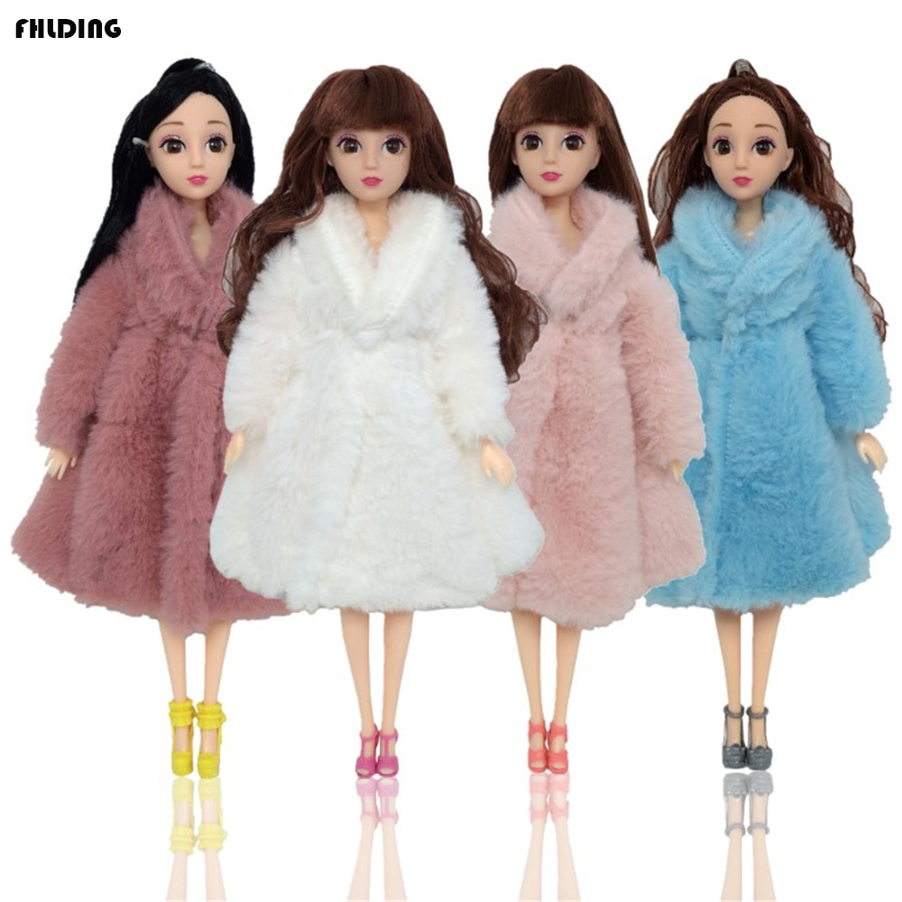 2019 Doll Coat High Quality Clothes Fashion Dresse Handmade Grows Outfit Flannel Coat For Barbie Doll Accessories DIY Toy