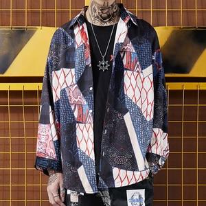 Image 5 - Aelfric Eden Herfst Japanse Ukiyo Geometrische Patchwork Lange Mouw Shirts 2018 Hip Hop Casual Streetwear Mannen Vrouwen Shirt Kj169