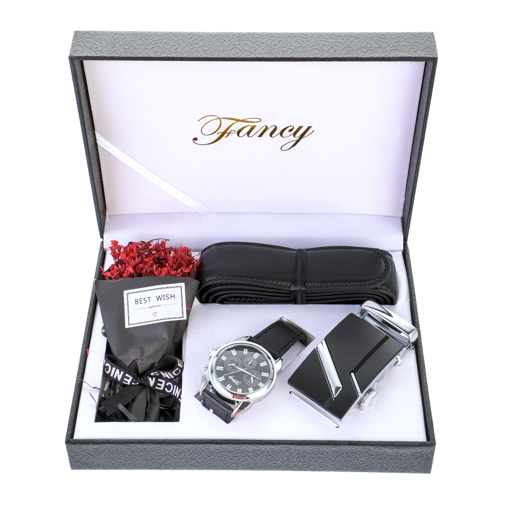 Classic Men Watch And Belt Suit Present Box Gift Set For Dad Father's Day Boyfriend Birthday Gifts