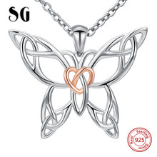 SG 100 925 sterling silver lovely hollow butterfly chain necklace pendant fashion jewelry making for women