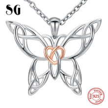 SG 100% 925 sterling silver lovely hollow butterfly chain necklace&pendant fashion jewelry making for women gifts FREE SIPPING