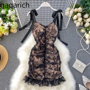 Gagarich Women Elegant Party Dress Ladies Sexy Pleated Slim Fit Bodycon Lace Dresses Summer New V Neck Shoulder-strap Vestidos