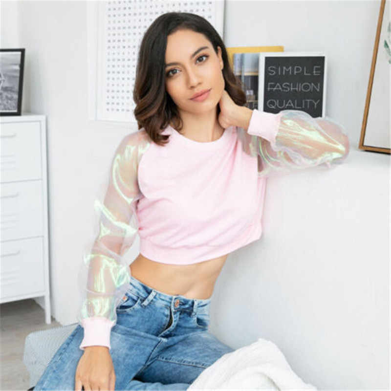 Модные женские короткие топы с длинными рукавами, прозрачные сетчатые прозрачные футболки, повседневные розовые черные Клубные пикантные Короткие топы, женские футболки