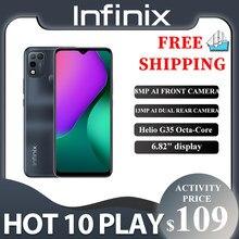 Infinix 10 jogo quente 2gb + 32gb/4gb + 64gb versão global telefone 6.82 hd hd + display 6000mah helio g35 telefone móvel