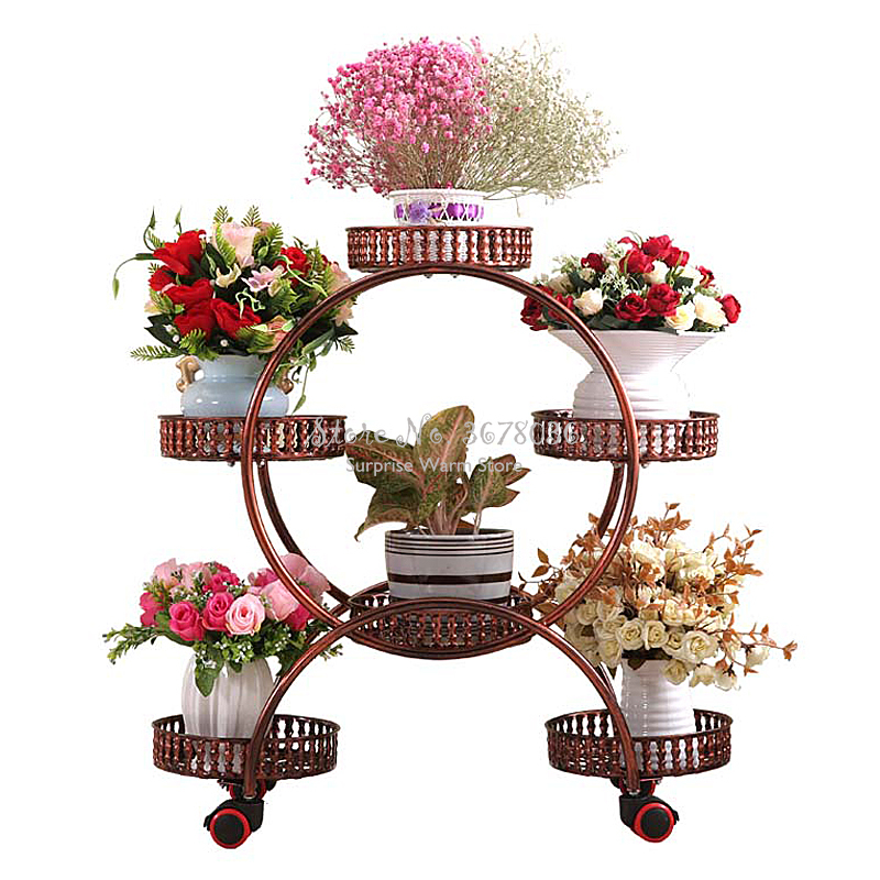 Cheap Metal Flower Rack Wrought Iron Multi layer Flower Shelf with Wheels Home Deco Floor Stand Flower Plant Trays Free Shipping|Living Room Chairs| |  - title=