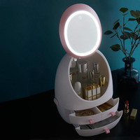 LED Makeup Mirror Lamp with Cosmetic Storage Box Touch Stepless Dimming Portable Dressing Lamp for Desktop Bathroom Travel