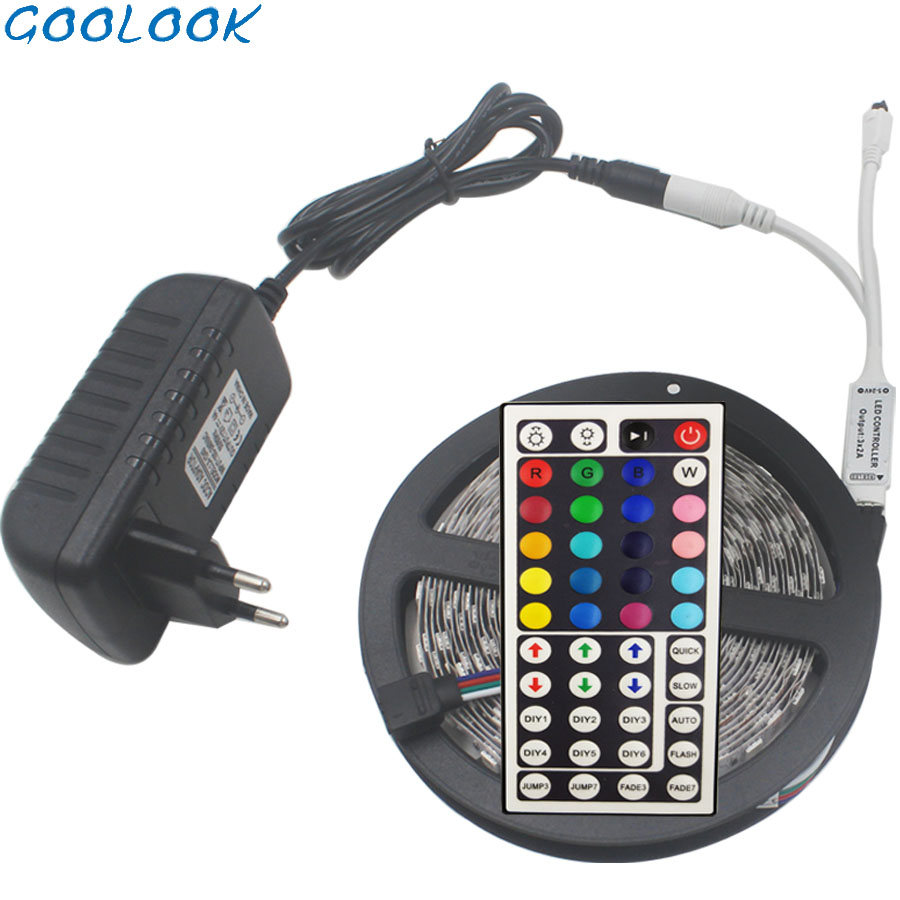 RGB 5050 SMD 2835 Flexible Ribbon fita led light strip RGB 5M 10M 15M Tape Diode with DC12V US EU  UK AU Adapter LED Strip Light|LED Strips| |  - title=
