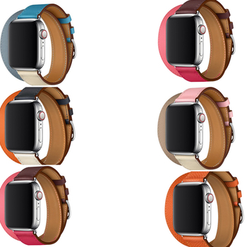 цена Newest Genuine Leather Strap For Apple Watch band Double Tour belt 42mm 38mm series 5 4 3 2 1 herm Bracelet 40mm 44mm онлайн в 2017 году