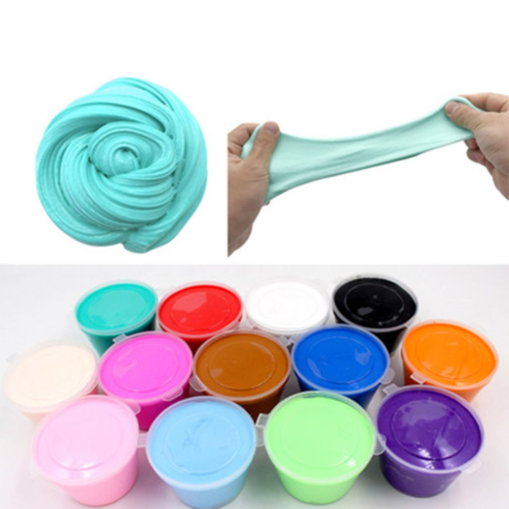 Fluffy Foam Slime Putty Stress Relief Magic Solid Color Slime Sludge Cotton Mud Toy Slime Toys Antistress Toys Plastice