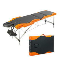 3 Sections Folding Portable Furniture Aluminum Alloy Foot Beauty Massage Table 60CM Wide Black & Orange