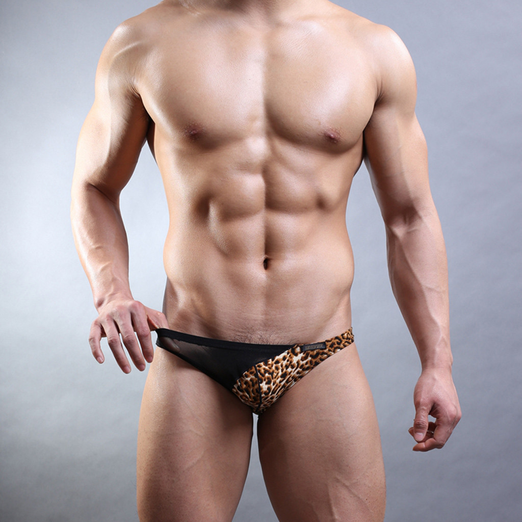 Men's lingerie New High-Profile Low-Waist Cotton Leopard Transparent Mesh Sexy Underwear игрушки для взрослых секс sexoshop