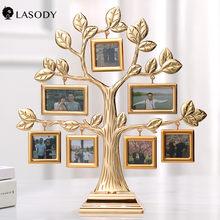 Marco de fotos de aleación con forma del árbol, regalo de Navidad, recuerdo de la boda creativo, decoración del hogar dorada, fotos, 7 Uds., 2020