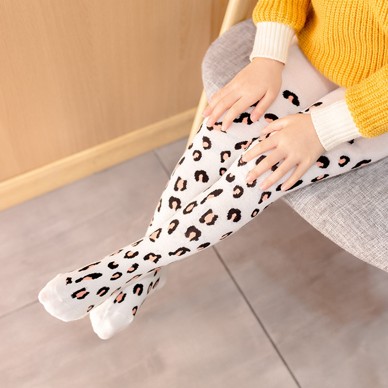 Leopard Print Pantyhose For Children Baby Girls Tights Knitted Cotton Toddler Girls Stockings Girl Winter Clothes Kids Tights