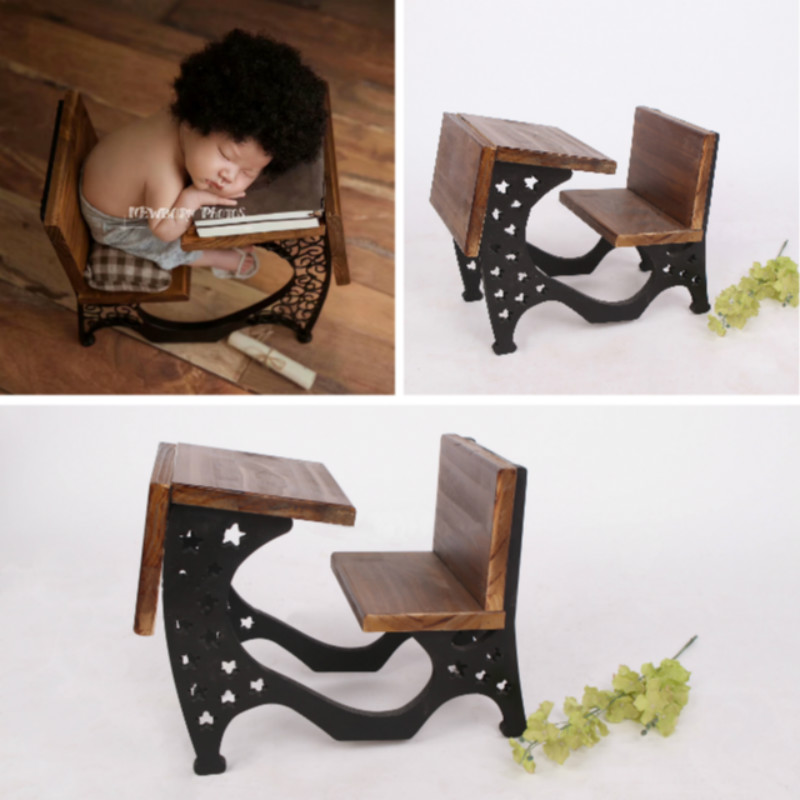 Newborn Photography Props Wooden Mini Desk Baby Posing Props Infant Photo Shoot Accessories Creative Big Props Baby Photo Chair