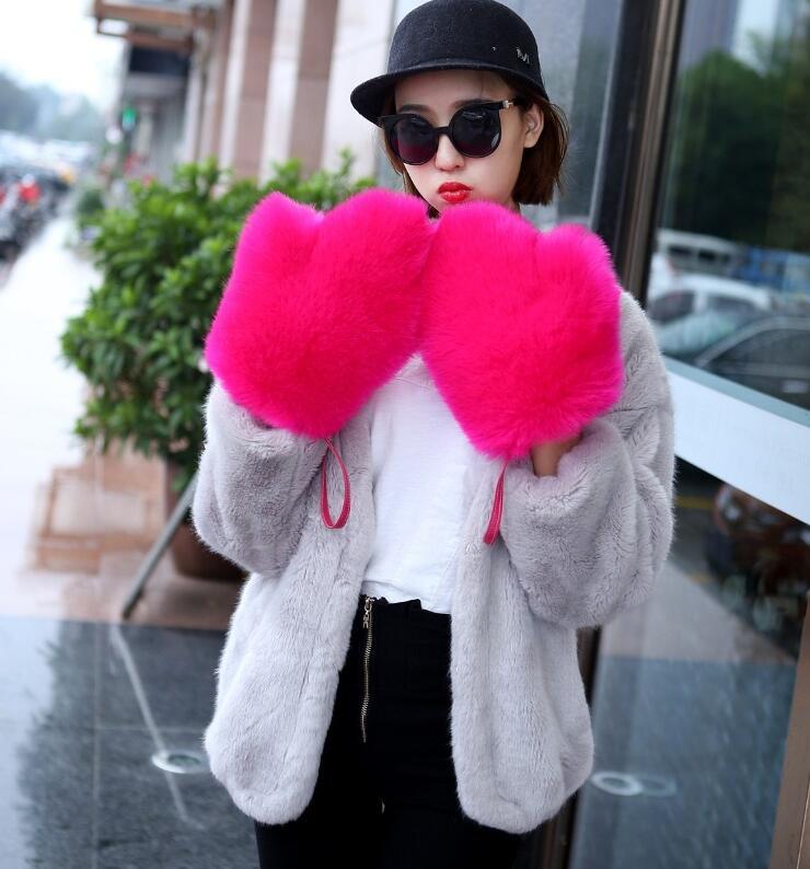 Women's Autumn Winter Thicken Warm Faux Fur Glove Lady's Fashion Faux Fox Fur Mitten R2350