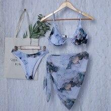 Nowa seksowna marmurowy nadruk Push Up bikini kobiety kostium kąpielowy damski stroje kąpielowe 3 strappy Bikini set V-Bar przewodowy krótka spódnica strój kąpielowy strój kąpielowy