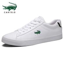 CARTELO zapatos informales planos de cuero para hombre, zapatillas deportivas de corte bajo, transpirables, color blanco