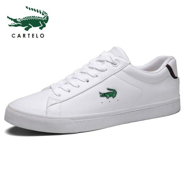 CARTELO גברים של נעלי ניו נעליים יומיומיות גברים של עור שטוח נעליים עם מחשוף סניקרס קטן לבן נעליים לנשימה