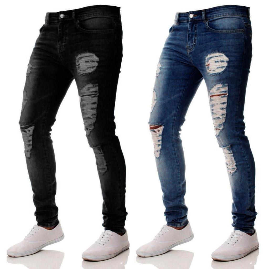 New Fashion Jeans Men Slim Zipper Denim Jeans Skinny Frayed Pants Distressed Trousers Pants Men's Clothing Drop Shipping