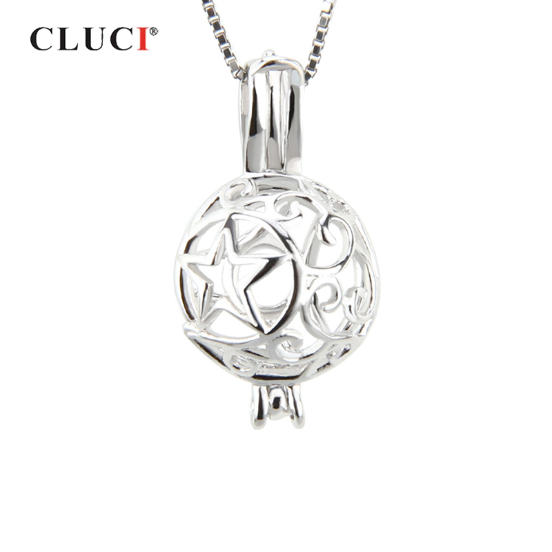 CLUCI Silver 925 Star Ball Shaped Pearl Locket Cage Pendant For Pearl Jewelry Women 925 Sterling Silver Charms Pendant