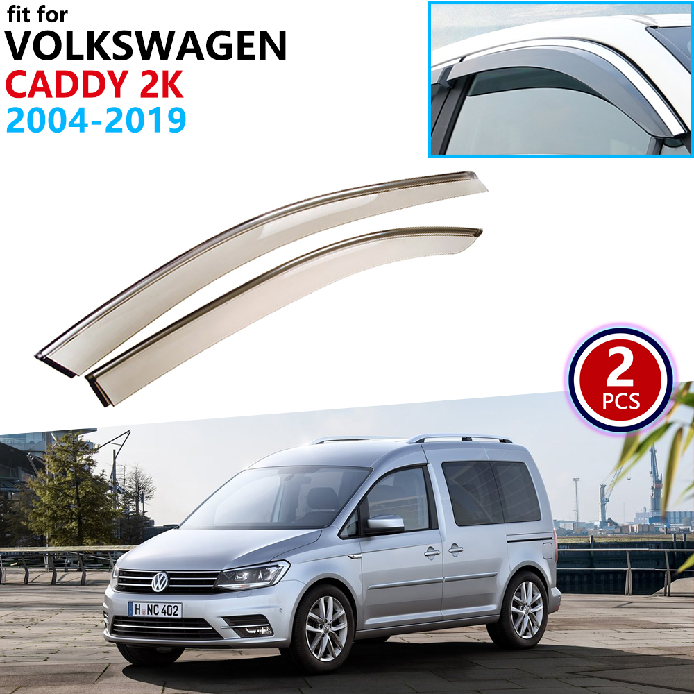 For VW Volkswagen Caddy 2K 2004~2019 Window Visor Vent Awnings Rain Guard Deflector Shelters Car Accessories 2006 2007 2009 2016