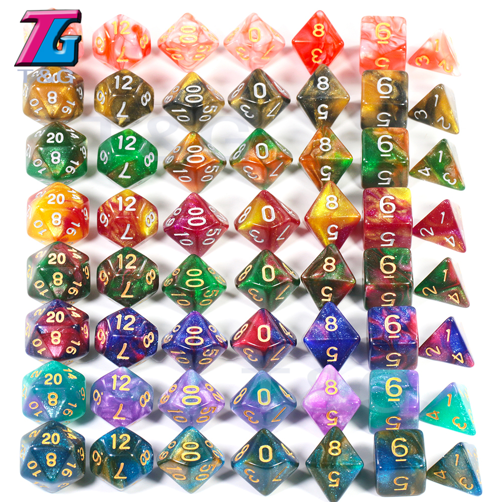 Colorful Universe Galaxy DND Dice Set D4-D20 DND RPG Best Gifts 16 Colors For Choose Christmas Gift