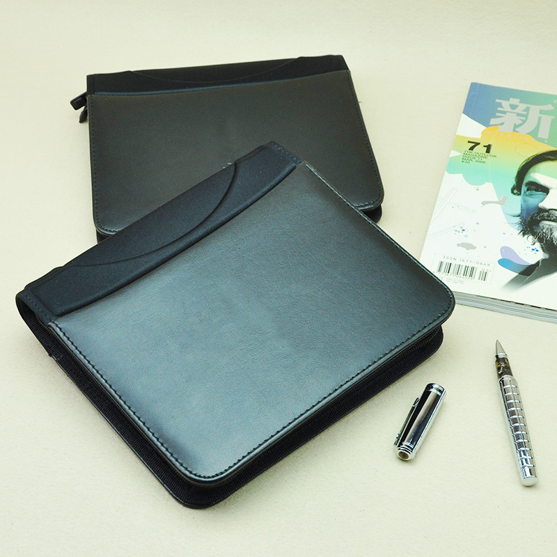 Business Vintage Document Bag Brief Case Padfolio File Folder With Zip Zipper Notepad Planner Pocket For Cellphone CD Pocket 783