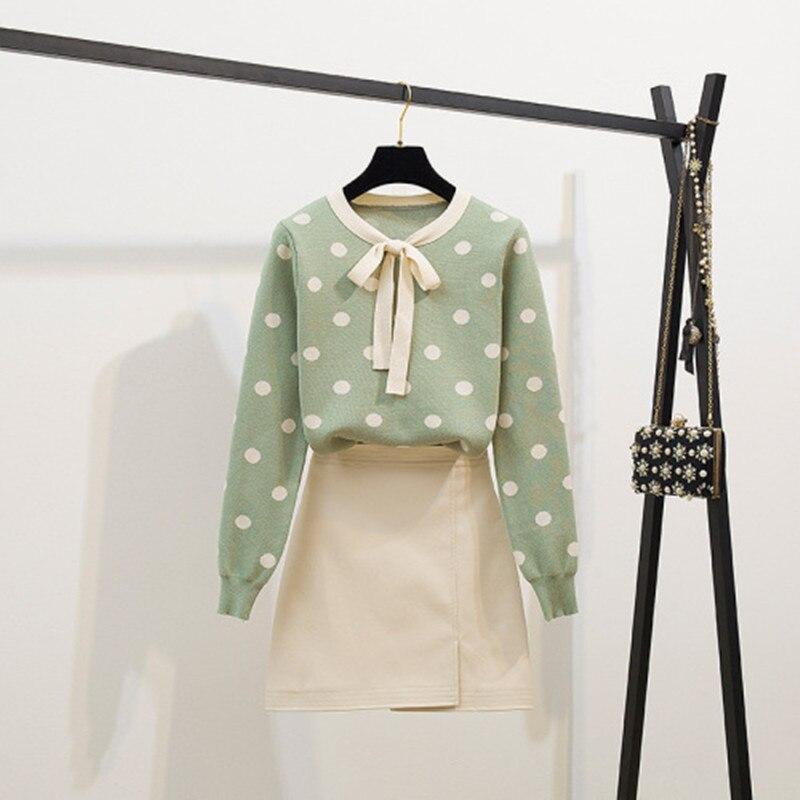 Fashion Green Appliques Sweater Skirt Set Autumn Women Loose O Neck Pullover And Mini PU Leather 2PCS Skirt Set