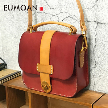 EUMOAN New handbags fashion retro leather handbags rose imprint ladies diagonal handbag mini shoulder bag