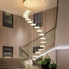 LED staircase chandelier Lighting creative personality star Indoor home stairwell restaurant Shop Long Chandelier