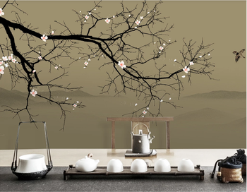 Custom high-end wallpaper new Chinese style hand-painted ink plum landscape decorative wall painting