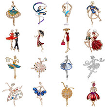 Rinhoo 2021 moda Temperament taniec dziewczyna dla baletnic Cartoon Shining kryształowe broszki kobiety Collar Pins ślub panny młodej biżuteria