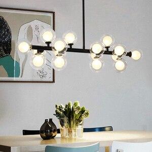Image 3 - מודרני LED נברשות זכוכית השעיה lustres עבור סלון חדר אוכל חדר מטבח זהב/שחור תליון נברשות תאורה